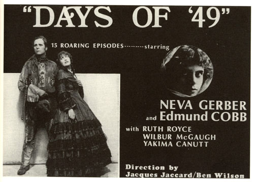 "Title card for ""Days of '49"" starring Neva Gerber and Edmund Cobb."