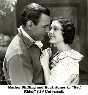 "Mariona Shilling and Buck Jones in ""Red Rider"" ('34 Universal)."