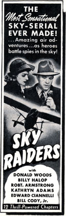 "Newspaper ad for ""Sky Raiders""."
