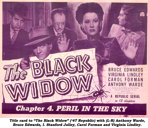 "Title card to ""The Blacl Widow"" ('47 Republic) with (L-R) Anthony Warde, Bruce Edwards, I. Stanford Jolley, Carol Forman and Virginia Lindley."