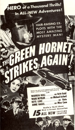 "Print ad for ""The Green Hornet Strikes Again!"""