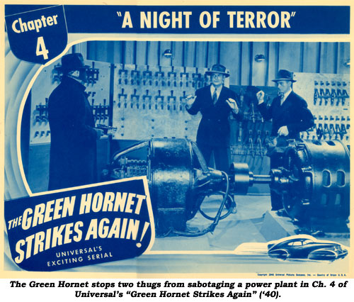 "The Green Hornet stops two thugs from sabotaging a power plant in Ch. 4 of Universal's ""Green Hornet Strikes Again"" ('40)."