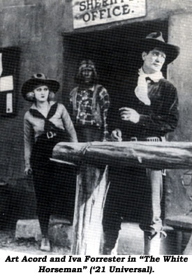 "Art Acord and Iva Forrester in ""The White Horseman"" ('21 Universal)."