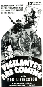 "Newspaper ad for ""Vigilantes are Coming""."