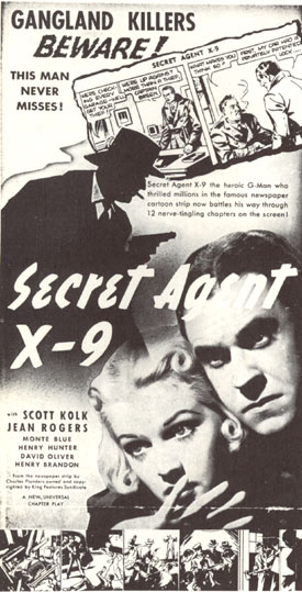 "Newspaper ad for ""Secret Agent X-9""."