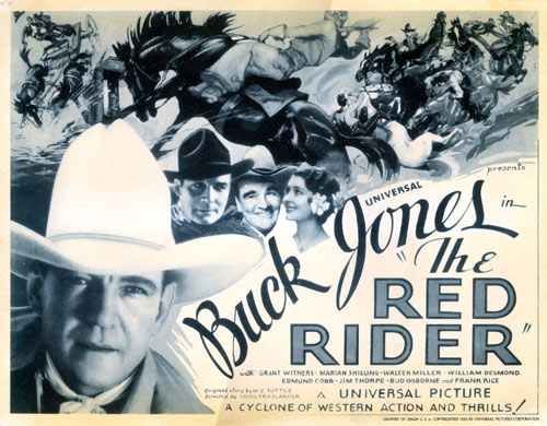 "Title card for Buck Jones' ""The Red Rider"" serial."
