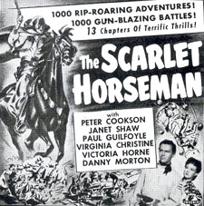 "Newspaper ad for ""The Scarlet Horseman"" serial."
