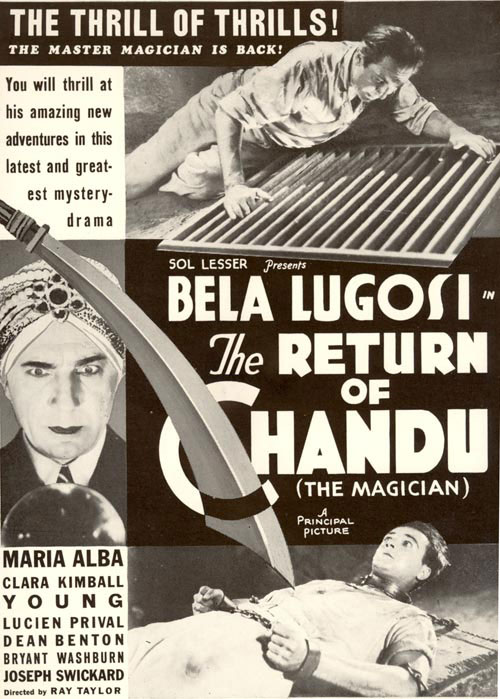 Ad for The Return of Chandu (the Magician) starring Bela Lugosi.