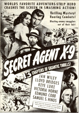 "Ad for ""Secret Agent X-9"" serial starring Lloyd Bridges."