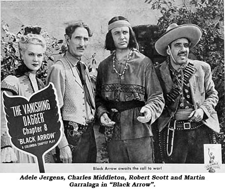 "Adele Jergens, Charles Middleton, Robert Scott and Martin Garralaga in ""Black Arrow""."