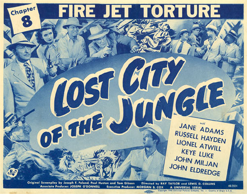 Lost City of the Jungle serial lobby card. Ch. 8 fire Jet Torture.