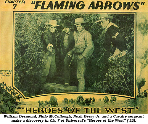 "William Desmond, Philo McCullough, Noah Beery Jr. and a Cavalry sergeant make a discovery in Ch. 7 of Universal's ""Heroes of the West"" ('32)."