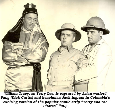 "William Tracy, as Terry Lee, is captured by Asian warlord Fang (Dick Curtis) and henchman Jack Ingram in Columbia's exciting version of the popular comic strip ""Terry and the Pirates"" ('40)."