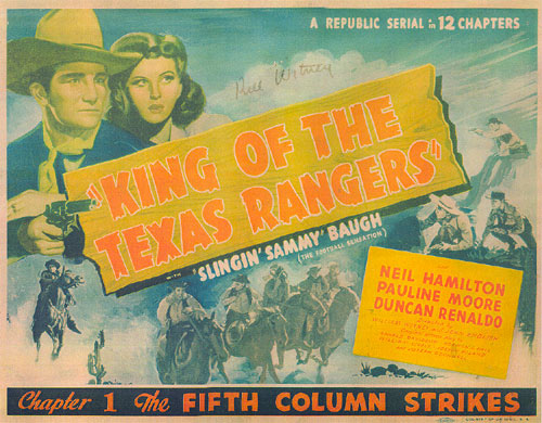 "Lobby Card from Ch. 1 of ""King of the Texas Rangers""."