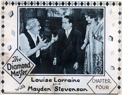 "Lobby card for ""The Diamond Master"" Chapter 4 starring Louise Lorraine and Hayden Stevenson."