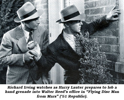 "Richard Irving watches as Harry Lauter prepares to lob a hand grenade into Walter Reed's office in ""Flying Disc Man from Mars"" ('51 Republic)."