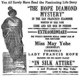"Newspaper ad for ""The Hope Diamond Mystery""."