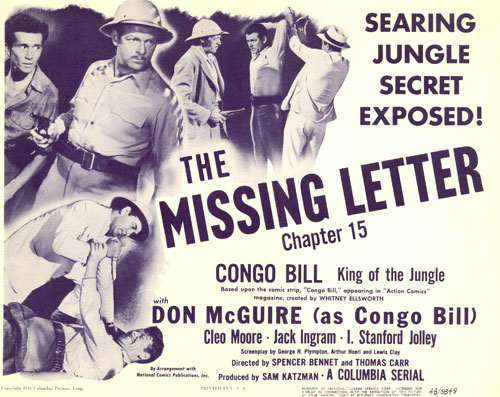 "Title Card for Chapter 15 of ""Congo Bill"", ""The Missing Letter""."