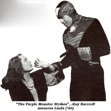 """The Purple Monster Strikes""...Roy Barcroft menaces Linda ('45)."