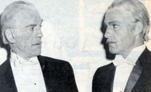 Republic stuntman Dale Van Sickel (on the right) made up to look like Boris Karloff for a film.