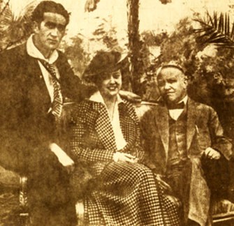 "Silent Serial Heroine Grace Cunard, Francis Ford (left) and Universal head Carl Laemmle in February 1932. After being away from film since 1929, Cunard had just completed a role in ""Heroes of the Flames"" ('31 Universal)."