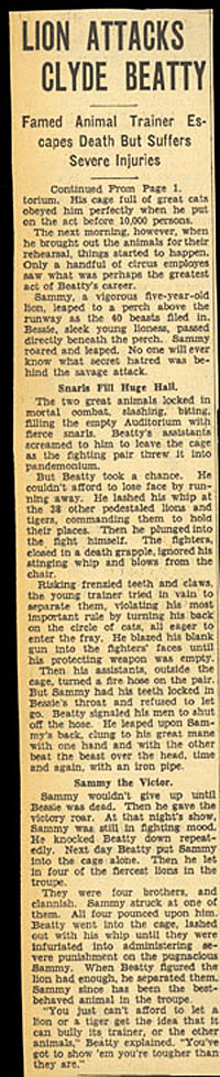 1/16/35 news article on Clyde Beatty.
