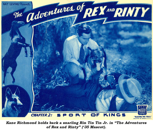 "Kane Richmond holds back a snarling Rin Tin Tin Jr. in ""The Adventures of Rex and Rinty"" ('35 Mascot)."