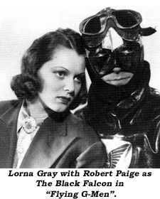 "Lorna Gray with Robert Paige as The Black Falcon in ""Flying G-Men""."