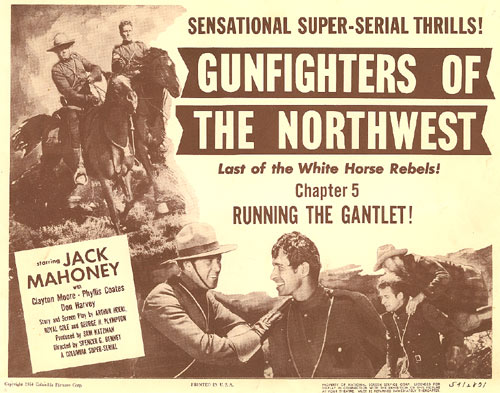 "Lobby card for Chapter 5 of ""Gunfighters of the Northwest""."