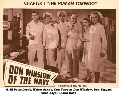 "(L-R) Peter Leeds, Walter Sande, Don Terry as Don Winslow, Ben Taggart, Anne Nagel, Claire Dodd. ""Don Winslow of the Navy"" Ch. 1 lobby card."