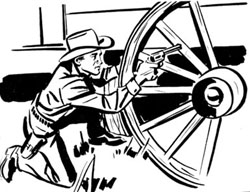 Artwork. Boy shooting from behind wagonwheel.