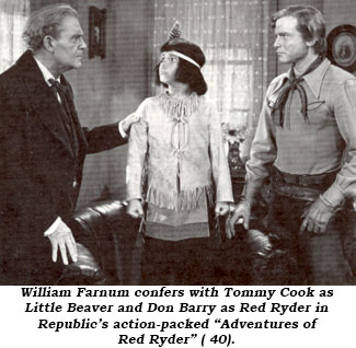 "William Farnum confers with Tommy Cook as Little Beaver and Don Barry as Red Ryder in Republic's action-packed ""Adventures of Red Ryder"" ('40)."