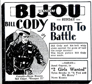 "Bill Cody in ""Born to Battle"""