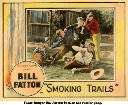 "Texas Ranger Bill Patton battles the rustler gang in ""Smoking Trails""."