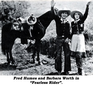 "Fred Humes and Barbara Worth in ""Fearless Rider""."