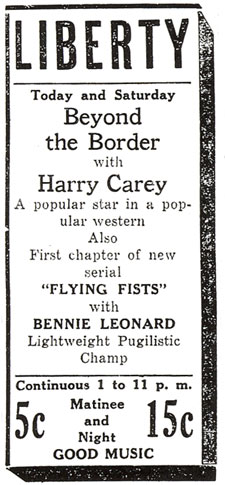 "Newspaper ad for ""Beyond the Border"" starring Harry Carey."