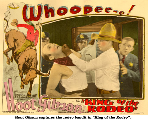 "Hoot Gibson captures the rodeo bandit in ""King of the Rodeo""."