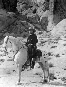 Jack Hoxie on Scout in the Alabama Hills of Lone Pine, California.