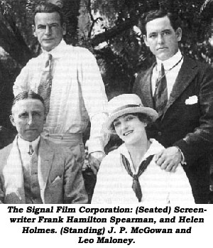 The Signal Film Corporation: (Seated) Screenwriter Frank Hamilton Spearman and Helen Holmes. (Standing) J. P. McGowan and Leo Maloney.