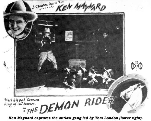 Ken Maynard captures the outlaw gang led by Tom London (lower left).