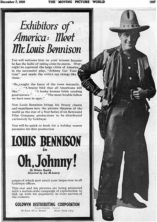 "Ad for Louis Bennison in ""Oh, Johnny!""."