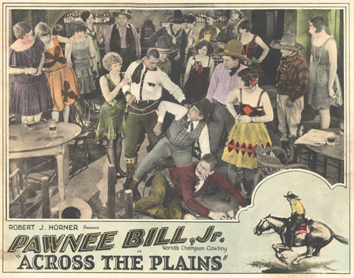 "Pawnee Bill Jr. in ""Across the Plains"" lobby card."