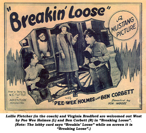 "Lollie Fletcher (in the coach) and Virginia Bradford are welcomed out West by Pee Wee Holmes (L) and Ben Corbett (R) in ""Breaking Loose"". (Note: The lobby card says ""Breakin' Loose"" while on screen it is ""Breaking Loose""."