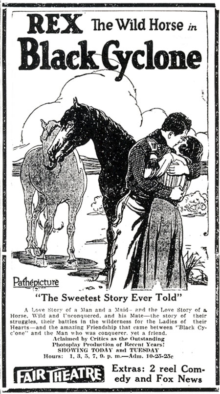 "Newspaper ad for Rex the Wild Horse in ""Black Cyclone""."