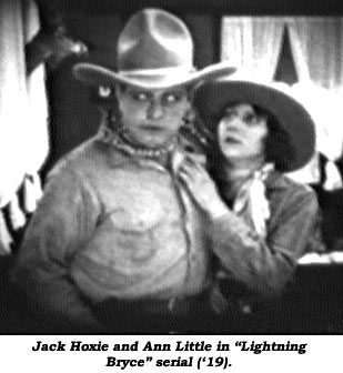 "Jack Hoxie and Ann Little in ""Lightning Bryce"" serial (1919)."