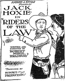 "Newspaper ad for Jack Hoxie in ""Riders of the Law"""