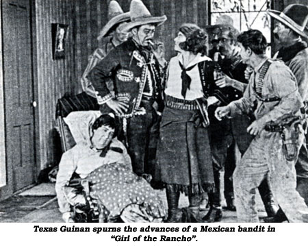 "Texas Guinan spurns the advances of a Mexican bandit in ""Girl of the Rancho""."