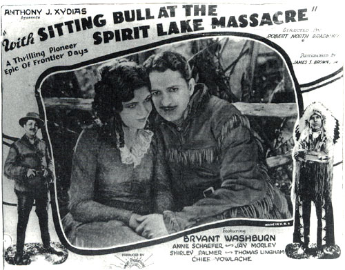 "Lobby card for ""With Sitting Bull at the Spirit Lake Massacre""."