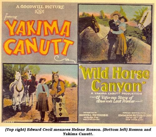 (Top right) Edward Cecil menaces Helene Rosson. (Bottom left) Rosson and Yakima Canutt.