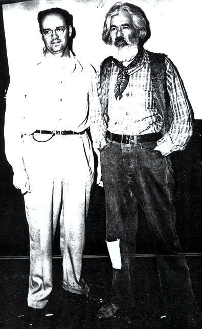 B-western fan Norman Foster with Gabby Hayes backstage at the State Theatre in Winston-Salem, NC, sometime in the mid-'40s.